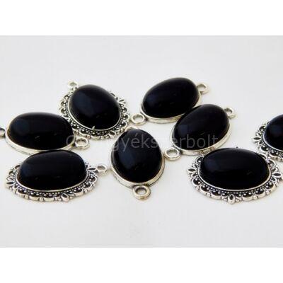 Fekete obszidián ásvány kaboson alapban13x18 mm