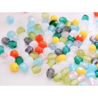 Mix CSEH csiszolt gömb üveggyöngy 4 mm