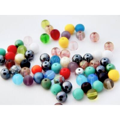 Mix CSEH préselt gömb üveggyöngy 6 mm