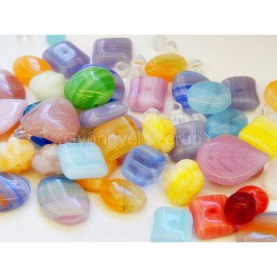 Szivárvány CSEH forma üveggyöngy mix