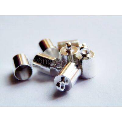 Ezüst ragasztható zsinór végzáró 10x6