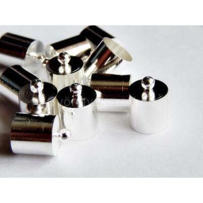 Ezüst ragasztható zsinór végzáró 14x10