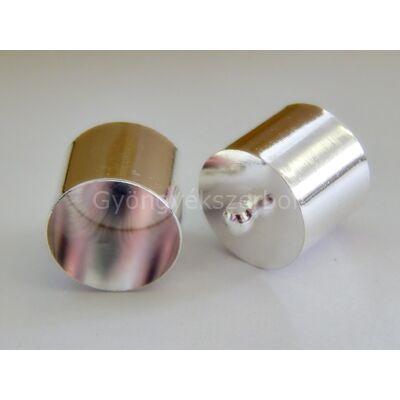 Ezüst ragasztható zsinór végzáró 18x18