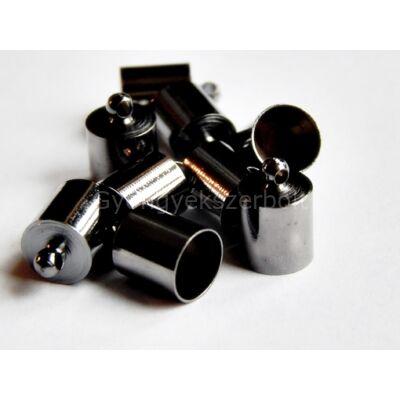 Fekete ragasztható zsinór végzáró 12x8