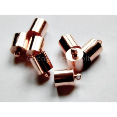 Rosegold ragasztható zsinór végzáró 12x8