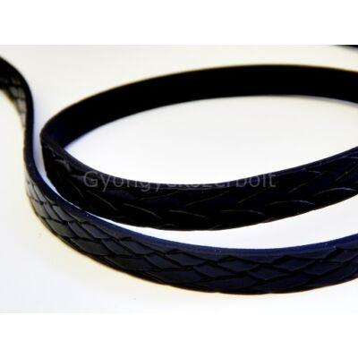 Fekete fonott mintás műbőr szíj 10 mm
