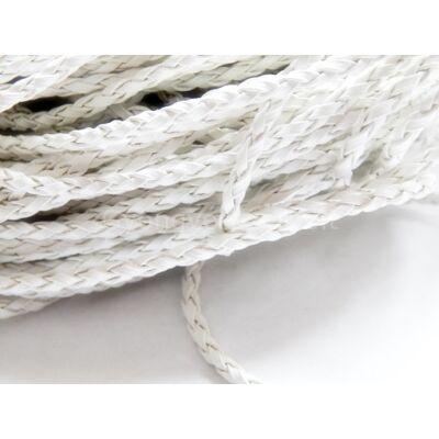 Fehér fonott műbőr zsinór 3 mm