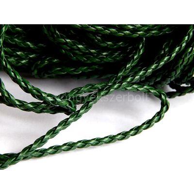 Zöld fonott műbőr zsinór 3 mm
